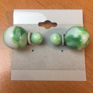 Jewelry - New Green and White Double Ball Stud Earrings